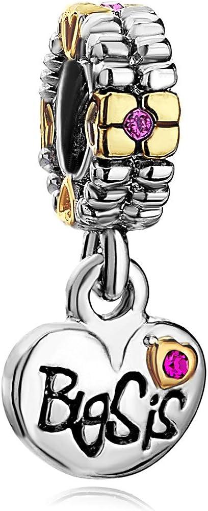 ReisJewelry Mom Big Sis Lil Sis Sister Charms Love Dangle Beads for Bracelets