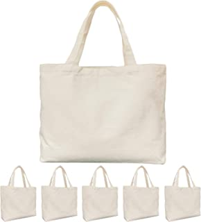 Canvas Tote Bag, 6 PACKS KOOLMOX Cotton Bags with Handles, 12Oz Thick Reusable Washable Grocery Shopping Bags Bulk Blank B...