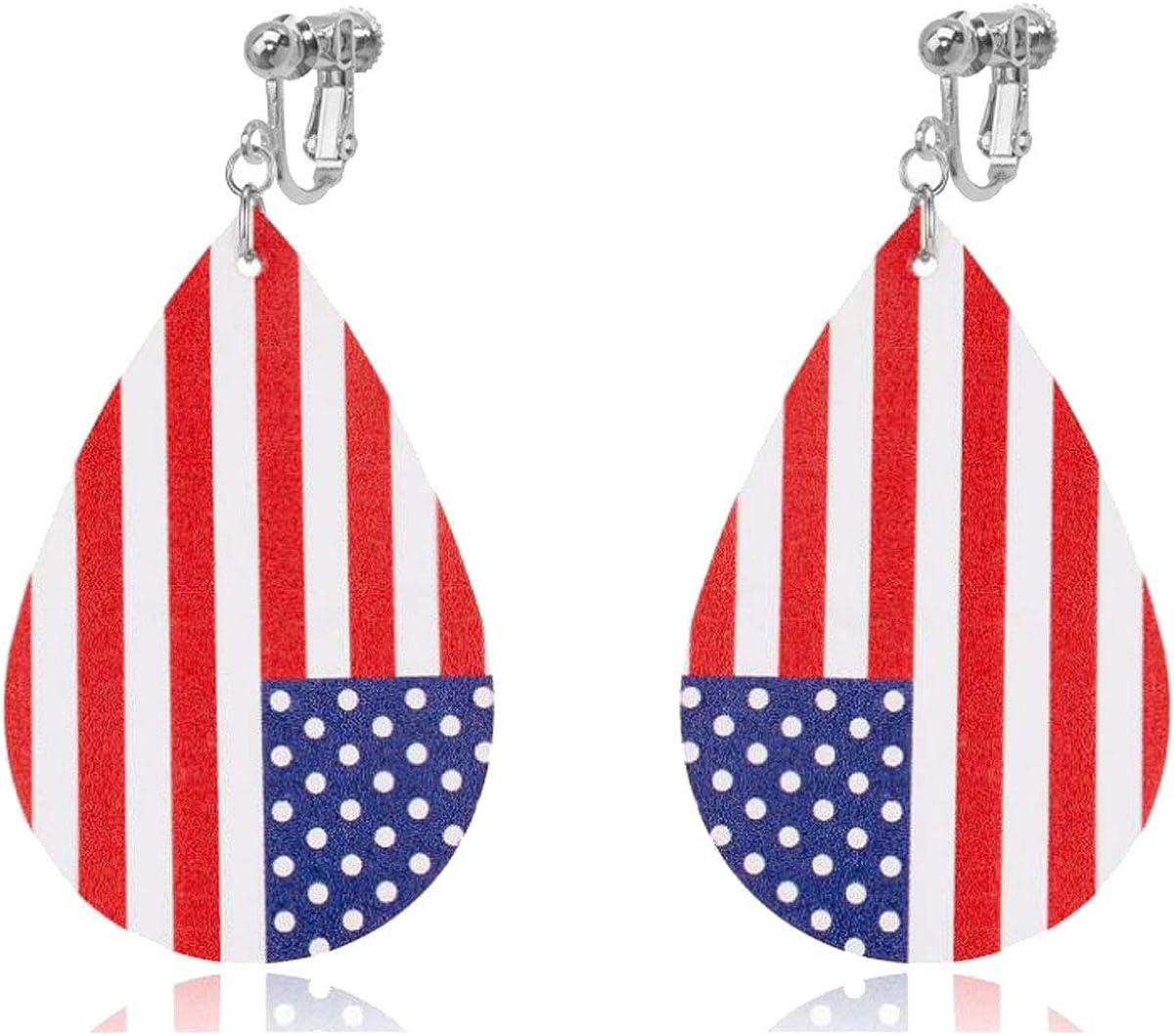 Bohemian Dangle Leather Clip on Earrings Faux PU Lightweight Flag Teardrop Drop for Women