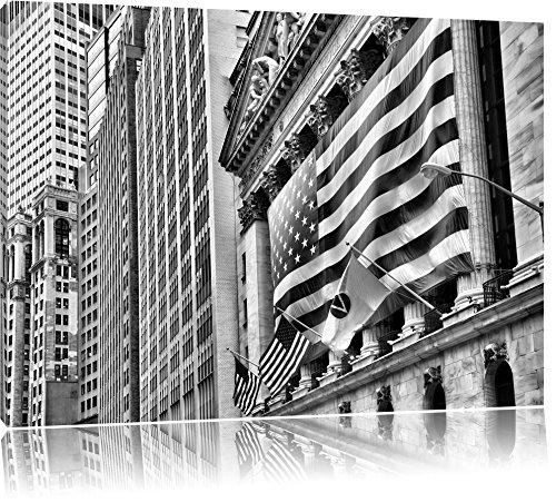 Pixxprint Amerikanische Flagge in New York / 80x60cm Leinwandbild bespannt auf Holzrahmen/Wandbild Kunstdruck Dekoration