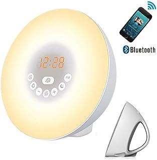 AngelaKerry Despertador de Luz Salida del Sol Reloj de Alarma 7 Colores Noche Luz con Sonidos Naturales,Función de Dormitar, Radio FM,Control Táctil y Cargador USB - Bluetooth