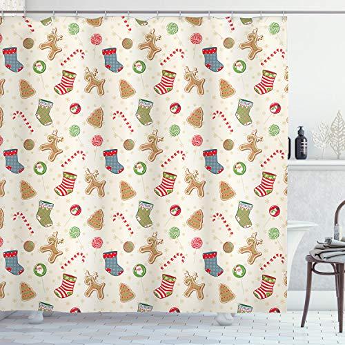 ABAKUHAUS Weihnachten Duschvorhang, Traditionelle Süßigkeiten, Trendiger Druck Stoff mit 12 Ringen Farbfest Bakterie & Wasser Abweichent, 175 x 200 cm, Multicolor