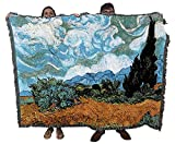 Wheat Field with Cypresses - Vincent Van Gogh - Cotton Woven Blanket Throw - Made in The USA (72x54)