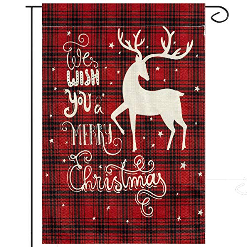 ANPHSIN Christmas Garden Flag- 12 × 18 inches Double-Sided Red& Black Rustic Buffalo Plaid Decorative Garden Flag with Merry Christmas Blessing and Reindeer for Holiday Outdoor Garden Yard Decorations