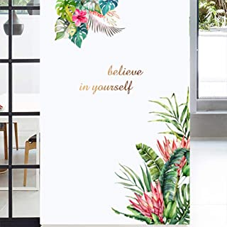 Green Plants Fresh Leaves Wall Decals, Watercolor Tropical Flower Wall Stickers, Believe in Yourself Removable Art Murals ...