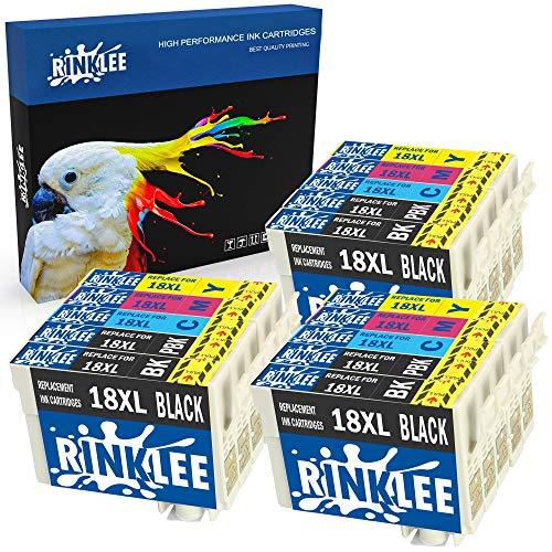 RINKLEE 15 Compatibles 18XL 18 XL Alta Capacidad Cartuchos de Tinta Reemplazo para Epson XP-102 XP-202 XP-205 XP-212 XP-215 XP-225 XP-302 XP-305 XP-312 XP-315 XP-325 XP-405 XP-415 XP-425
