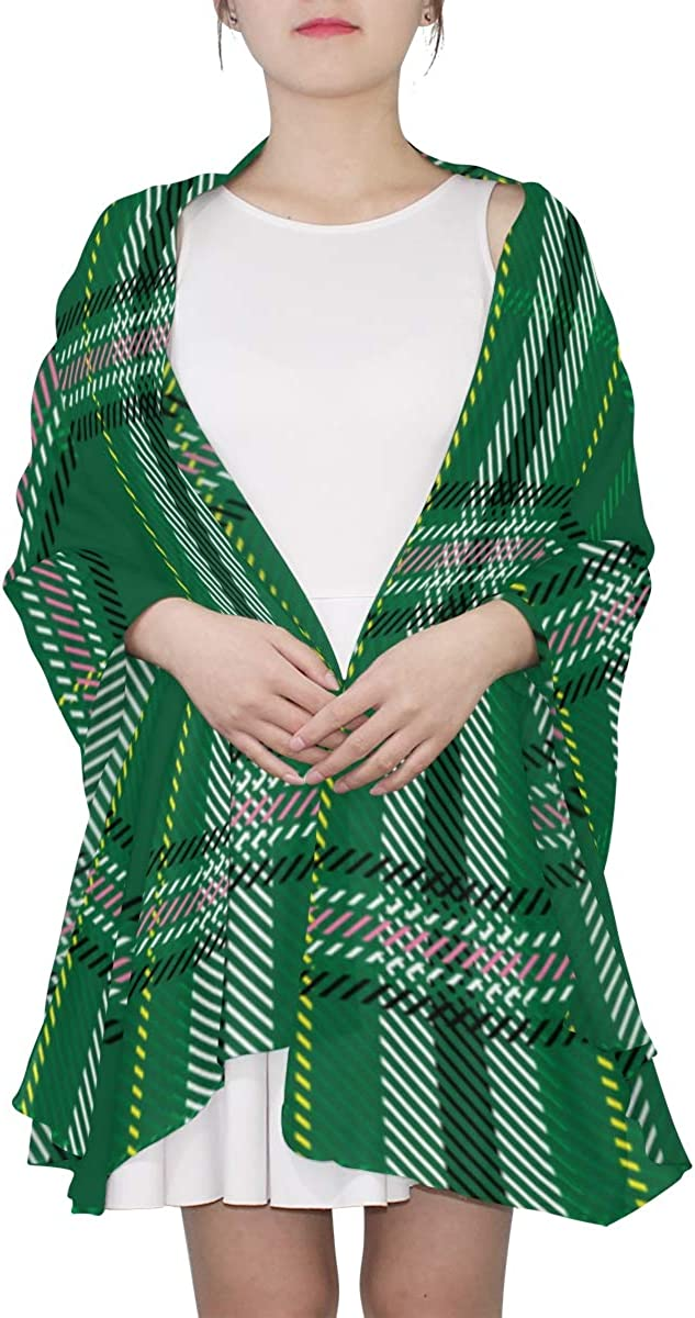 Cute Green Lattices Unique Fashion Scarf For Women Lightweight Fashion Fall Winter Print Scarves Shawl Wraps Gifts For Early Spring