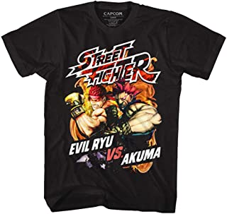 Street Fighter SF Video Game Franchise Evil Ryu vs Akuma Black Adult T-Shirt Tee