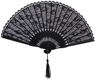 PIXNOR FaltbHandfächer aus Spitze Fächer aus Spitze Spanische viktorianischen Hand Fan für Hochzeitsfeier schwarz
