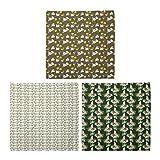 ABAKUHAUS Pack de 3 Bandanas Unisex, Flores y huevo aviar y Little Chicken loro y Flora exótica, Multicolor