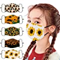 5PCS Reusable Washable Face Bandanas,Breathable Face Cotton Fabric Face_Masks with Adjustable Ear Straps for Children,Cute Flower Printed Facewear for Kids Boys Girls Outdoor Students Back to School
