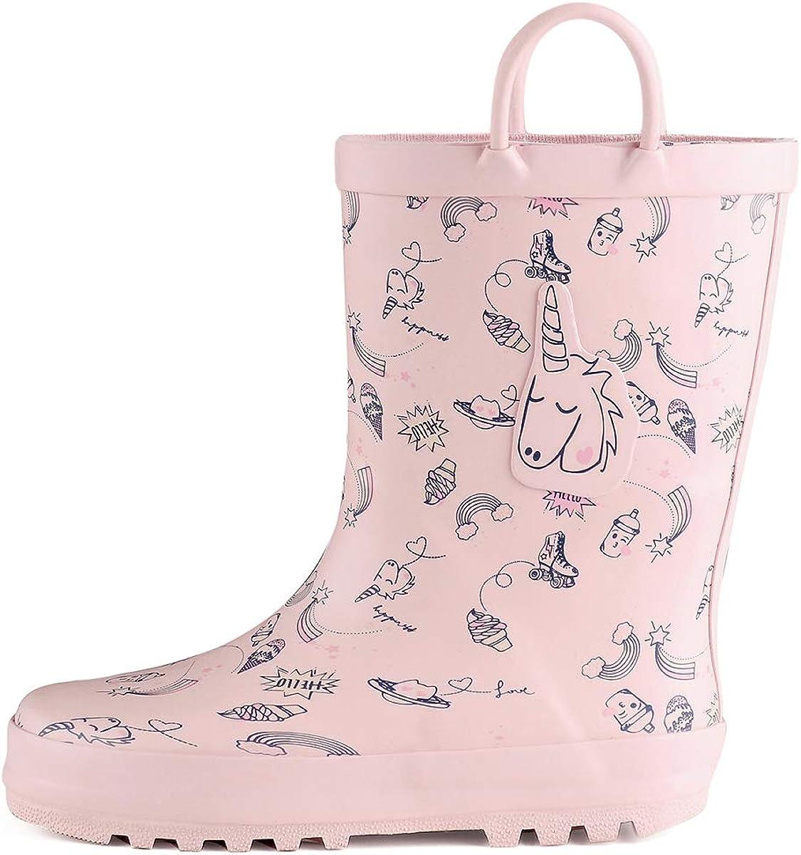 Import K KomForme Kids Girl Max 43% OFF Boy Rain Printed Rubber Boots Waterproof w