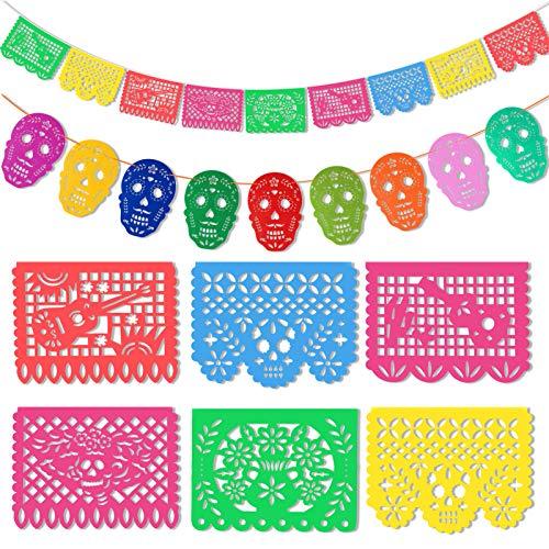 HOWAF Banderas de Fiesta Mexicana Guirnalda de Fiesta de Papel Picado de Plástico para Fiesta Mexicana Decoracion Día de los Muertos Mexico Cráneo
