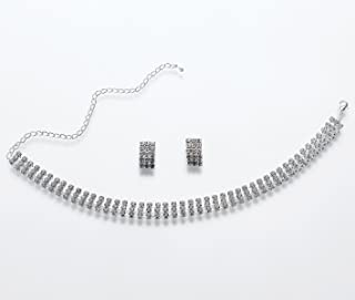 Lillian Rose Rhinestone Band Necklace & Earring Set