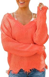 Cardigans Sexy fuera del hombro V-cuello suéter de punto de las mujeres de la borla prendas de punto Tops de manga larga J...