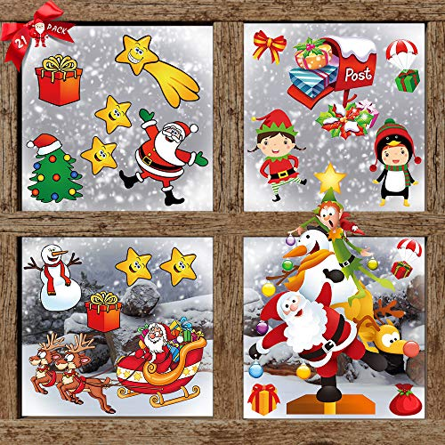 Christmas Window Stickers Clings for Kids, Double-Side Removable Christmas Window Decal Stickers for Christmas Decorations Window Decorations Ornaments Party Supplies Refrigerator Decor