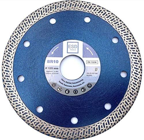 ESD-TOOLS Disco de corte de diamante (125 x 22,2 mm, con núcleo reforzado para cortar azulejos, gres porcelánico, cerámica, piedra natural, ladrillo y granito)