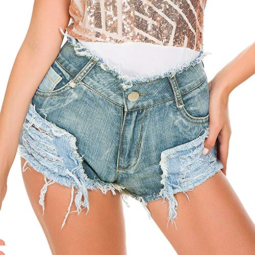 NBNBN Hem Denim Jean Shorts Frauen mit hohen Taille Ripped Original-Jeans-Shorts Fluffy Back Pocket Ragged Jeans Perfekt zum Basic Top (Farbe : Light Blue, Size : M)