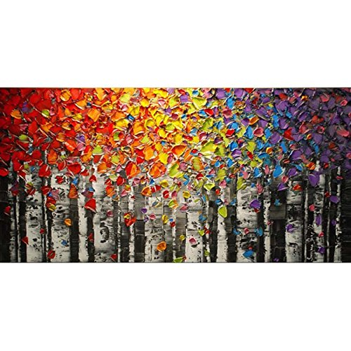 Pintado a mano paisaje abstracto paleta arco iris abedul Vista de �rbol de pintura al óleo Lienzo familia pared salón arte, lona, 24x48inch(60x120cm)