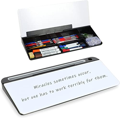 """popular Glass Desktop Computer wholesale Pad, 16"""" × 7"""", Dry Erase Whiteboard List Notepad with ABS online Storage Box for Home or Office. outlet sale"""