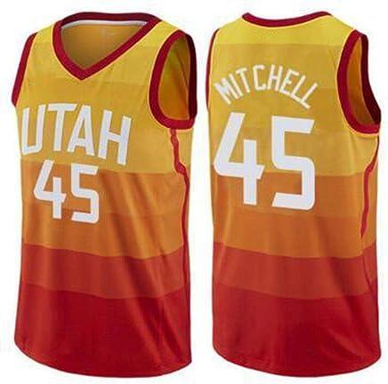 11b57a40aa CCKWX Camisetas De Baloncesto para Hombre - NBA Utah Jazz # 45 Donovan  Mitchell Camiseta De