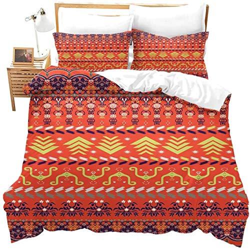 Boho Floral Duvet Cover Set for Teens Geometric Bedding Set Southwestern Comforter Cover with 2 Pillowcases Striped Ethnic Soft Microfiber Zipper Unique 3 Pcs LightweightDouble