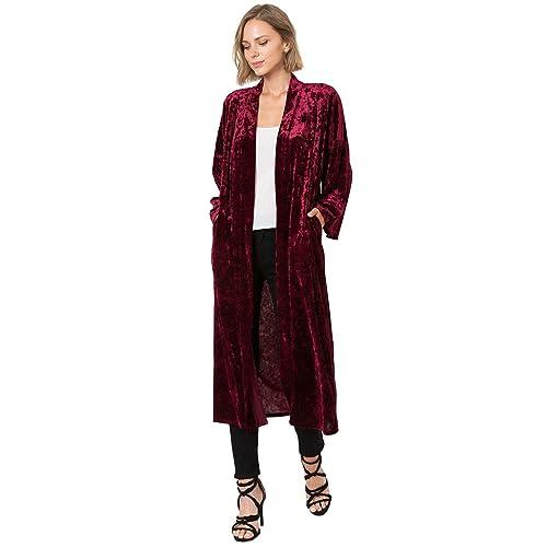 6b6e75e8dc7 Modern Kiwi Midnight Love Long Sleeve Velvet Maxi Kimono Cardigan with Side  Pockets (S-