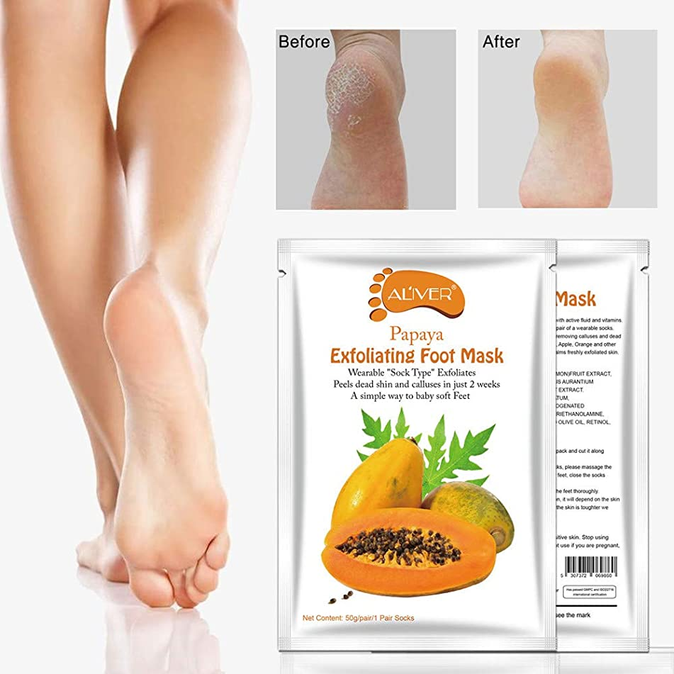 ? Yu2d ???? ?Papaya Hot Remove Dead Skin Foot Mask Peeling Cuticles Heel Feet Care Anti Aging