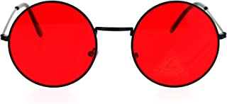 Retro Vintage Flat Color Circle Round Lens Sunglasses