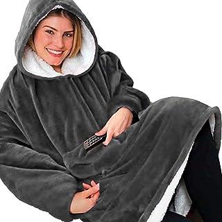 BeKing Huggle Hoodie - Ultra Plush Couverture Sweat à Capuche Hiver Chaud Peignoir Réversible Sweatshirt Unisexe [Taille U...