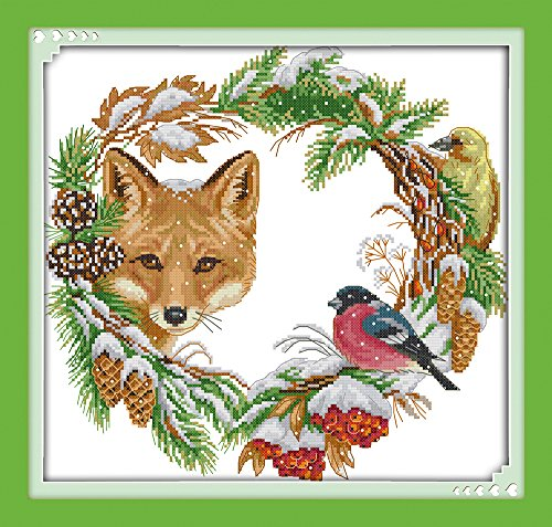 DIY Cross Stitch Counted Kits Stamped Kit Cross-Stitching Pattern for Home Decor, 11CT Pre-Printed Fabric Embroidery Crafts Needlepoint Kit(The Fox and The Garland)