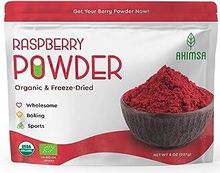 Organic Freeze Dried Raspberry Powder 8 oz Ahimsa | USDA Certified | Red Raspberry Freeze Dried | Smoothie and Backing Powder