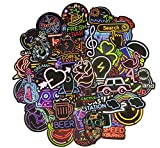 JustYit Lot de 100 Stickers Stickers Couleurs Fun pour Sugar Stickers Sticker Factory Lot de Stickers,Stickers Casque Moto,Planche Ordinateur.(Série Néon)