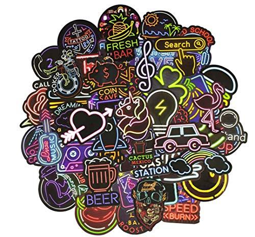 YGSAT 100 Stücks Weinlese Wasserdicht Vinyl Stickers Graffiti Decals Stickerbomb für Auto Motorräder,Auto Fahrrad Stoßstange, Skateboard Snowboard (Neon-Serie)