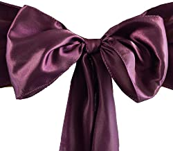 Set of 10 Chair Decorative Satin Sashes Bow Designed for Wedding Events Banquet Home Kitchen Decoration (Eggplant)