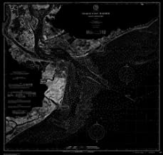 Vintography 18 x 24 Fine Art Canvas Wrap Blueprint Style Nautical Chart of Navigation Chart of Charleston Harbor and Approaches 1900 C&GS 28a