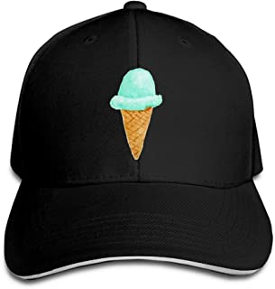 Unisex Cap With Adjustable Snapback Ice Cream Cone Watercolor Outdoors For Men Boys Women Girls 8 Colors Available