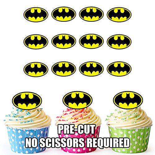 Vorgeschnittener Batman Superheld - Essbare Cupcake Topper / Kuchendekorationen (12 Stück)