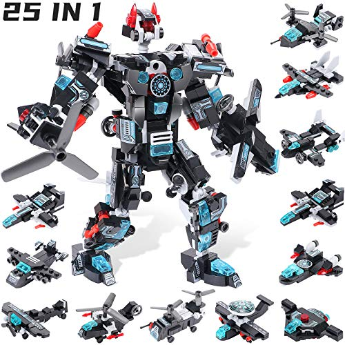 Winrayk Robot Building Toys for Boys Age 8-12 Erector Set 25-in-1 STEM Toys 577 Pcs Building Bricks Engineering Vehicles Blocks Kit Robots for Kids 8-12 Gifts for 6 7 8 9 10 11 12 Year Old Boys Girls
