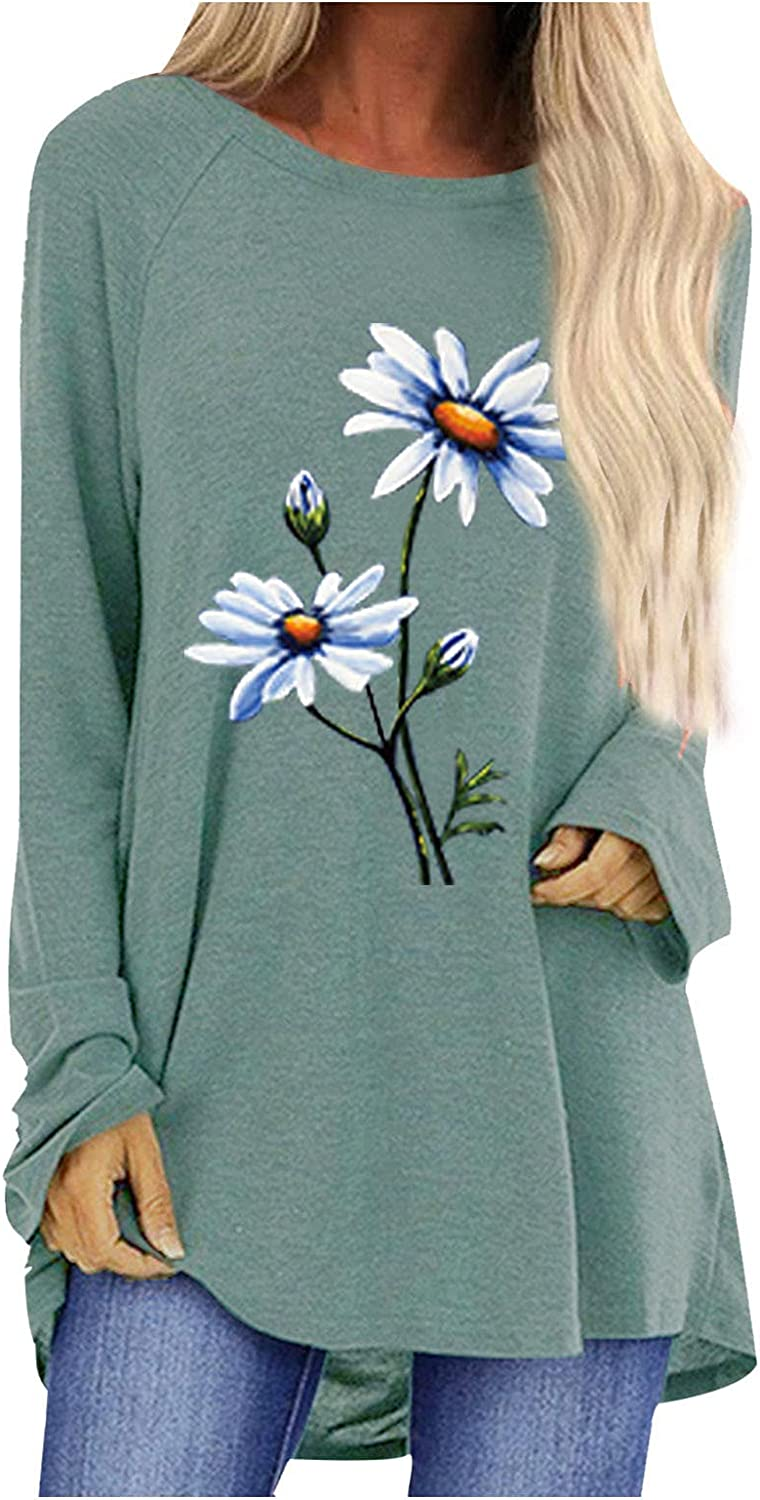 Women Long Sleeve Baggy Tops Autumn Daily Flower Printing Blouse Swing Flowy Tunic T-Shirts Asymmetry Casual Tee