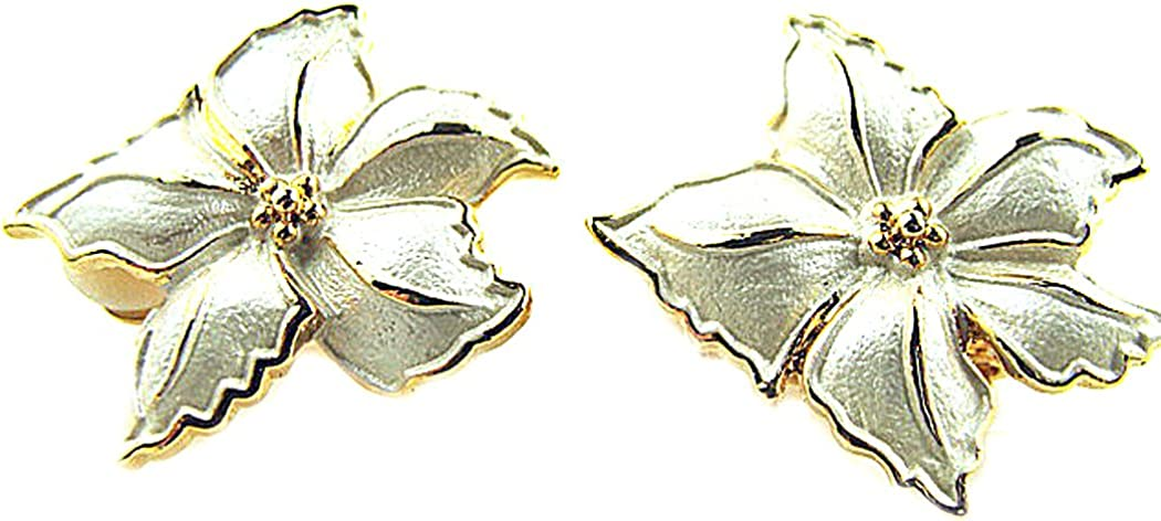 Ivory Colored Gold Accent Flower Clip On Earrings