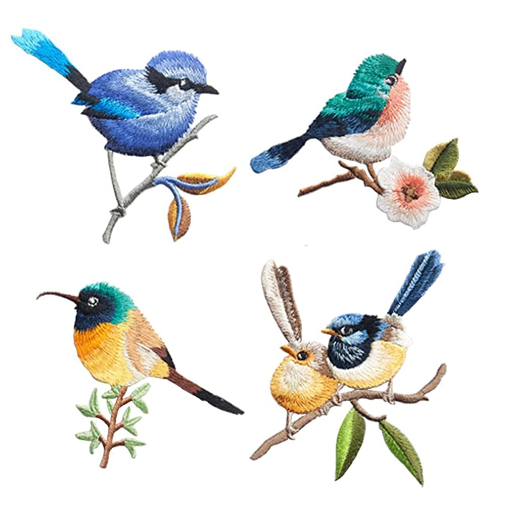 4 Pcs Cute Birds Delicate Embroidered Patches, Embroidery Patches, Iron On Patches, Sew On Applique Patch,Cool Patches for Men, Women, Boys, Girls, Kids