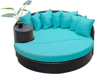 TK Classics Aruba Newport Circular Sun Bed Outdoor Wicker Patio Furniture