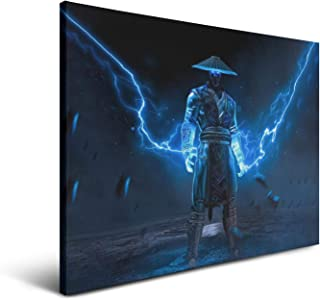 Mortal Kombat Raiden Lightning Blue Posters Decorated,Gallery Simple Frameless Paintings Frame 18x24 Inch
