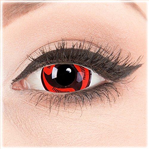 Farbige Mini Sclera Halloween Kontaktlinsen'Itachis Manga' - 17mm MeralenS Horror Lenses inkl. Behälter - 1Paar (2 Stück)