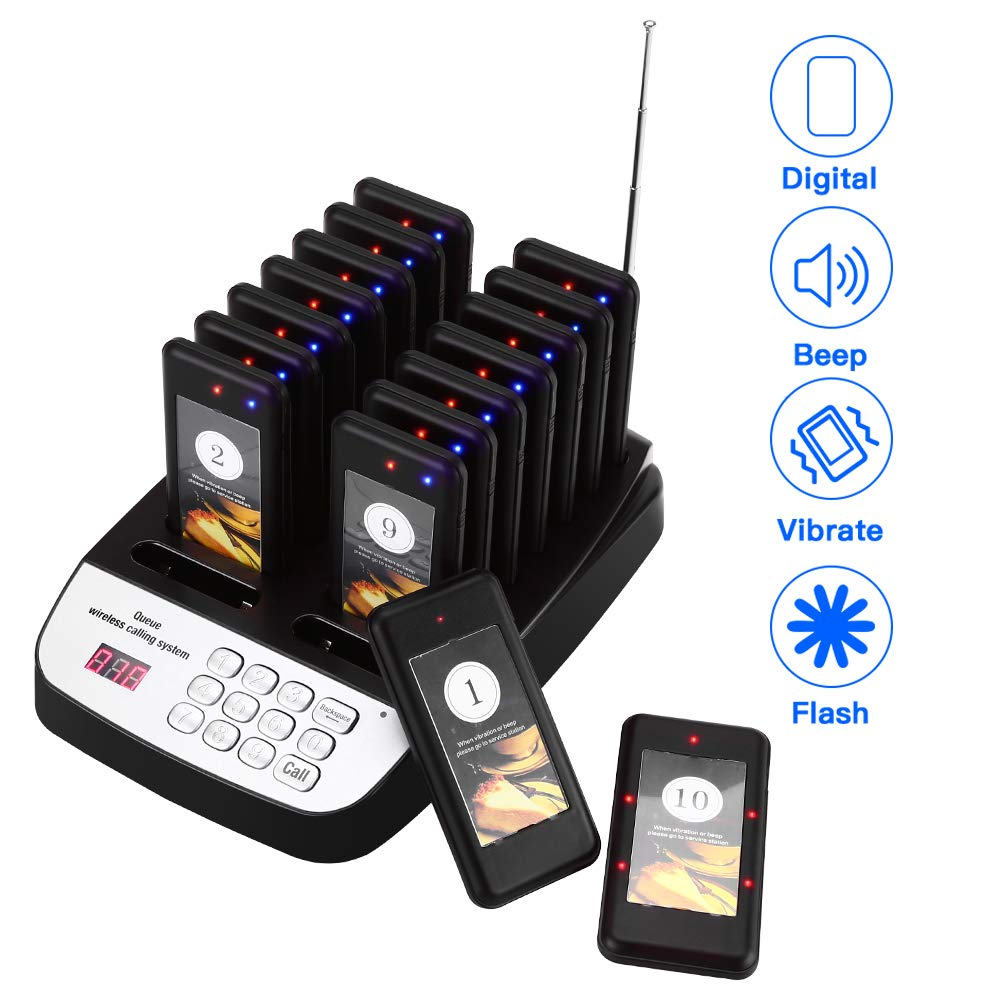 Wireless Restaurant Guest Paging Queuing Calling System Coaster Pager 16 Pagers