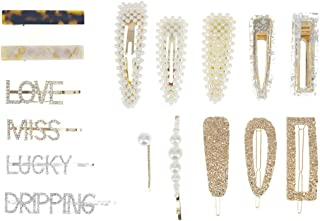 16 Pieces Pearls Acrylic Resin Hair Clips, Alligator Hairpins Luxury Gold Headwear Set for Women Girls