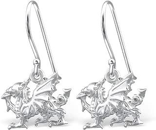 Lvhenongye Charm Jewelry Welsh Dragon Earrings Sterling Silver Earrings Dangle Fish Hook Gift for Women