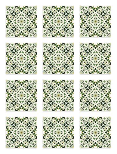 Panorama Azulejos Adhesivos Cocina Baño Pack de 48 Baldosas de 15x15 cm Hidráulica Tipo Oriental Verde - Vinilos Cocina Azulejos - Revestimiento de Paredes - Cenefas Azulejos Adhesivas