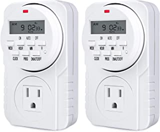 Heavy Duty 7 Day Smart Digital Programmable Outlet Timer with LCD Display for Lights Lamps, Set Up to 8 On/Off Programs for Plug In Electrical Outlets, 2 PACK